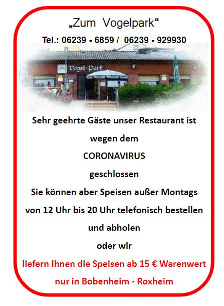 """Gaststätte """"Zum Vogelpark"""""""