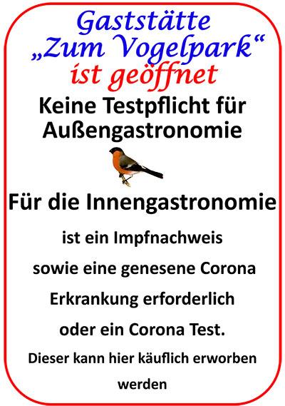 """Gaststätte """"Zum Vogelpark"""" ist geöffnet"""