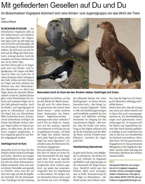 Bericht über die Jugendgruppe im Wormser Wochenblatt vom 30.01.19