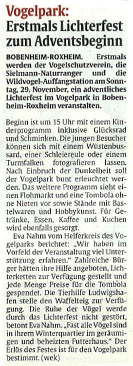 RheinPfalz Pressebericht Lichterfest vom 27.11.2015