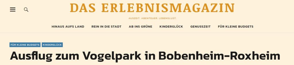 Rheinhessen-Urlaub.de empfiehlt den Vogelpark Bobenheim-Roxheim!