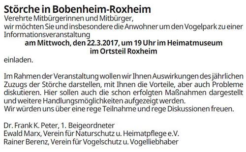 Infoveranstaltung Vogelpark Bobenheim-Roxheim