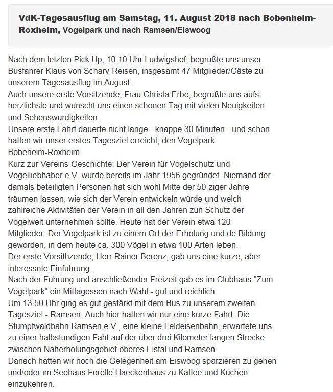 VdK-Tagesausflug am Samstag, 11. August 2018 nach Bobenheim-Roxheim, Vogelpark und nach Ramsen/Eiswoog