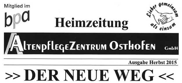 Heimzeitung AltenpflegeZentrum Osthofen