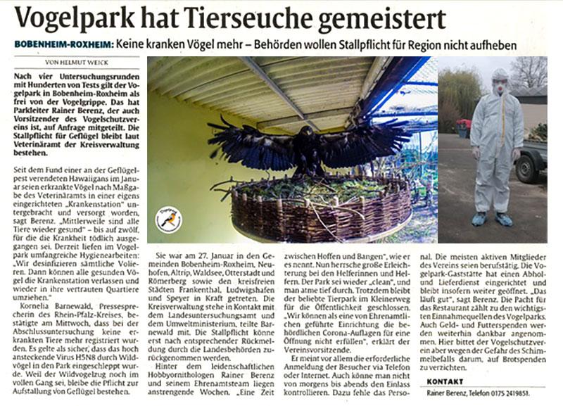 Vogelpark hat die Tierseuche gemeistert